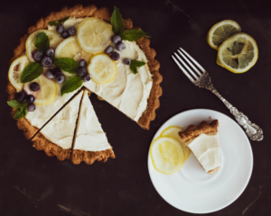 flat lay icebox lemon tart